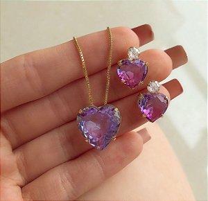 Conjunto Coração Pedra Rainbow Ametista com Zircônia Diamond Dourado