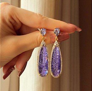 Brinco Marrocos Pedra Fusion Ametista e Zircônias Diamond Dourado