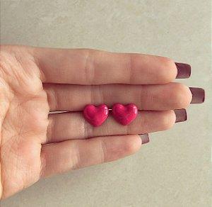 Brinco Coração Pequeno Esmaltação Rosa Queimado Dourado
