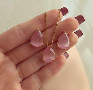 Conjunto Gota Pedra Calcedônia Safira Rosa Dourado