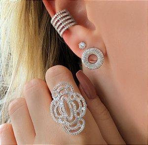 Maxi Piercing de Pressão Mil Zircônias Diamond Ródio Branco