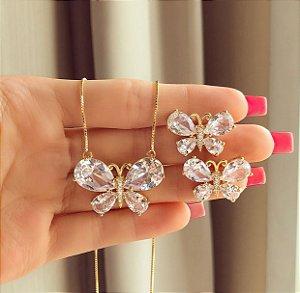 Conjunto Luxuoso Borboleta Cristal Diamond e Zircônias Diamond Dourado