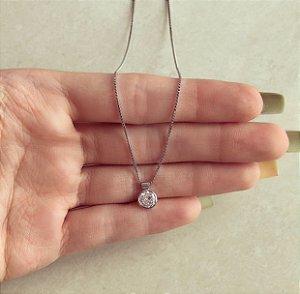 Corrente Ponto de Luz De Zircônia Diamond com Voltinha em Volta no Ródio Branco