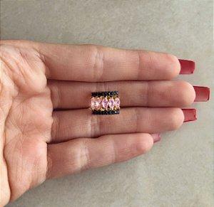 Piercing de Pressão Navetes de Zircônia Safira Rosa e Mini Marcassita Dourado