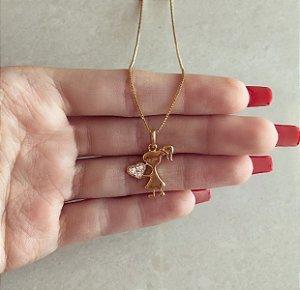 Corrente Filha Coração com Zircônias Diamond Dourado