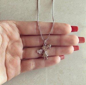 Corrente Filha Coração Com Zircônias Diamond Ródio Branco