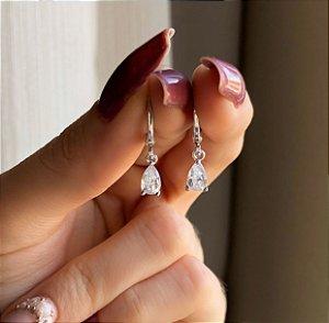 Argolinha Gota Pequena de Zircônia Diamond Ródio Branco