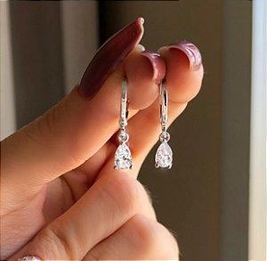 Argolinha Gota Média de Zircônia Diamond Ródio Branco
