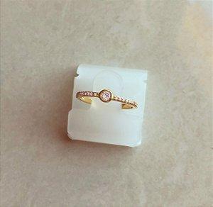 Anel Solitário Bolinha com Micro Cravação de Zircônias Diamond Dourado