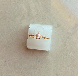 Anel Delicado Gota de Zircônia Diamond Dourado