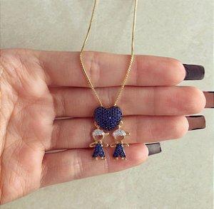 Corrente Coração Filho/Filho com Mil Zircônias Azul Marinho e Diamond Dourado