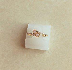 Anel de Coração Duplo Zircônias Diamond Dourado