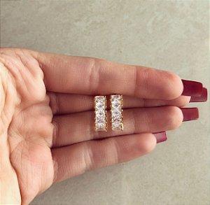 Argolinha Maxi Navetes de Zircônias Diamond Dourado