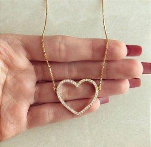 Corrente Coração Vazado com Cravação Mil Zircônias Diamond Dourado
