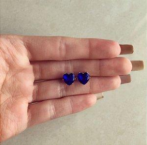 Brinco Maxi Coração Cristal Azul Bic Dourado