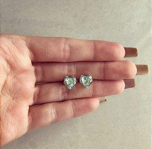 Brinco Maxi Coração Cristal Azul Claro Dourado
