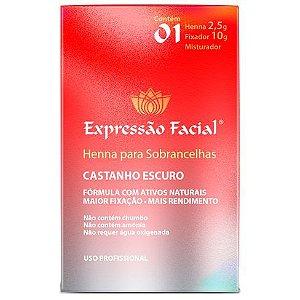 Henna Castanho Escuro Expressão Facial 2,5G + Fixador 10ML