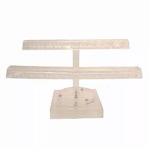 Expositor acrílico giratorio 2 niveis para 56 peças