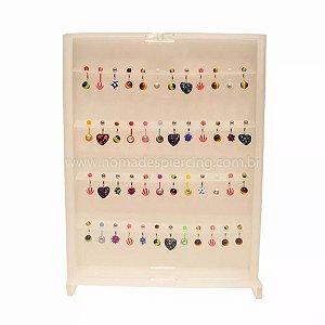 Expositor fechado em acrílico para 48 piercings