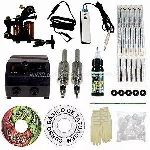 Kit Tatuagem Starter I – Traço - Com biqueiras de aço - Electric ink linha 15 ml