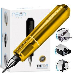 Máquina Rotativa Neon Pen TH PRO - Amarelo Gold + Brinde 10 cartuchos