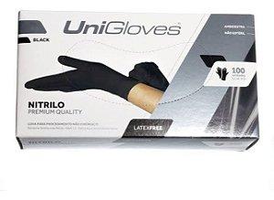 Luva Nitrílica Preta Premium Unigloves Caixa Com 100 - ( ESCOLHER MEDIDA )