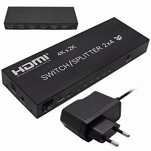 Splitter Switch HDMI C/ 2 entradas x 4 saidas UHD 4Kx2K