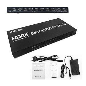 Switch Splitter Hdmi 2 entradas x 8 saídas e resolução 4K x 2K com Controle Remoto