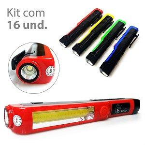Kit com 16 Lanternas 2 em 1 LED Branco Super Brilhante Cob 1+1 (5w)