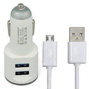 Carregador Veicular com 2 Entradas USB + 1 Cabo Micro USB