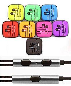 Fone de Ouvido Intra-auricular - Silicone - acabamento em Metal fio Nylon e Microfone