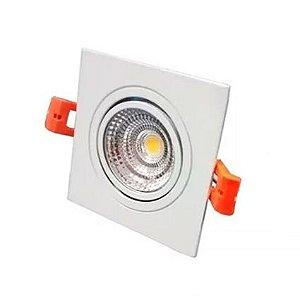 Spot Quadrado Direcionável de  Embutir LED 5w - Branco Quente