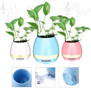 Vaso de planta com caixa de som bluetooth