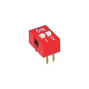 Chave DIP Switch 2 Vias - Vermelho