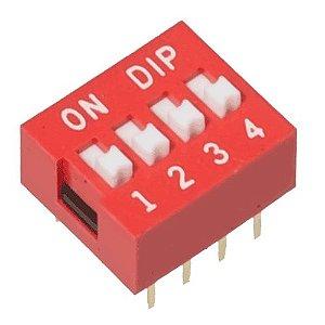 Chave DIP Switch 4 Vias - Vermelha
