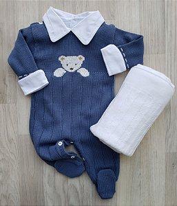 Macacão Maternidade - Ursinho Azul jeans (Somente macacão)