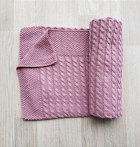 Manta tricot modelo tranças e pontos - Cores Diversas