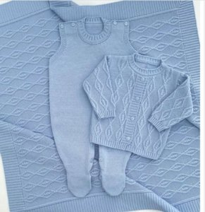 Saída Maternidade Tricot - Otto Azul Claro (Sem body)