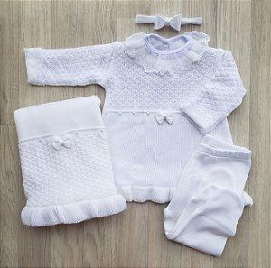 Saída Maternidade Tricot - Estella Branco (Sem body)