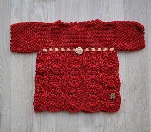 Vestido em crochê - Lã Merino Vermelho