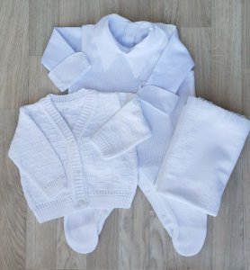 Saída Maternidade Tricot - Gabriel Branco (Sem body)