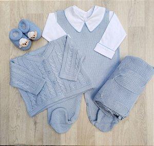 Saída Maternidade Tricot - Luigi Azul (Sem body)