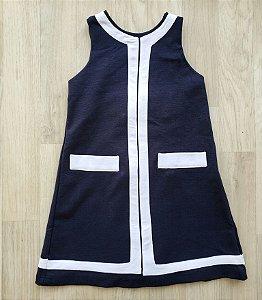 Vestido tubinho azul marinho - Tam. 12 a 18 meses