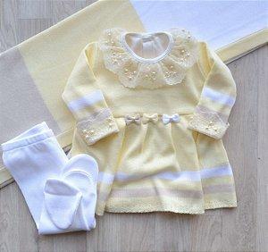 Saída Maternidade Tricot - Olívia Amarelo (Sem body)