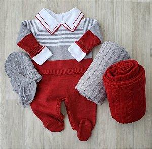 Macacão Maternidade Tricot - Lucca Vermelho e Cinza (Somente macacão)