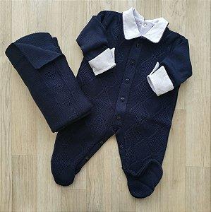 Saída Maternidade Tricot - Nick Azul Marinho (Sem body)