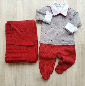 Macacão Maternidade - Benjamin Vermelho e Cinza (Somente macacão)