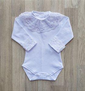 Body Maternidade Renda com Pérolas - Branco