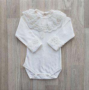 Body Maternidade Renda com pérolas - Off white