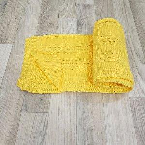Manta Tricot Tranças - Amarelo mostarda